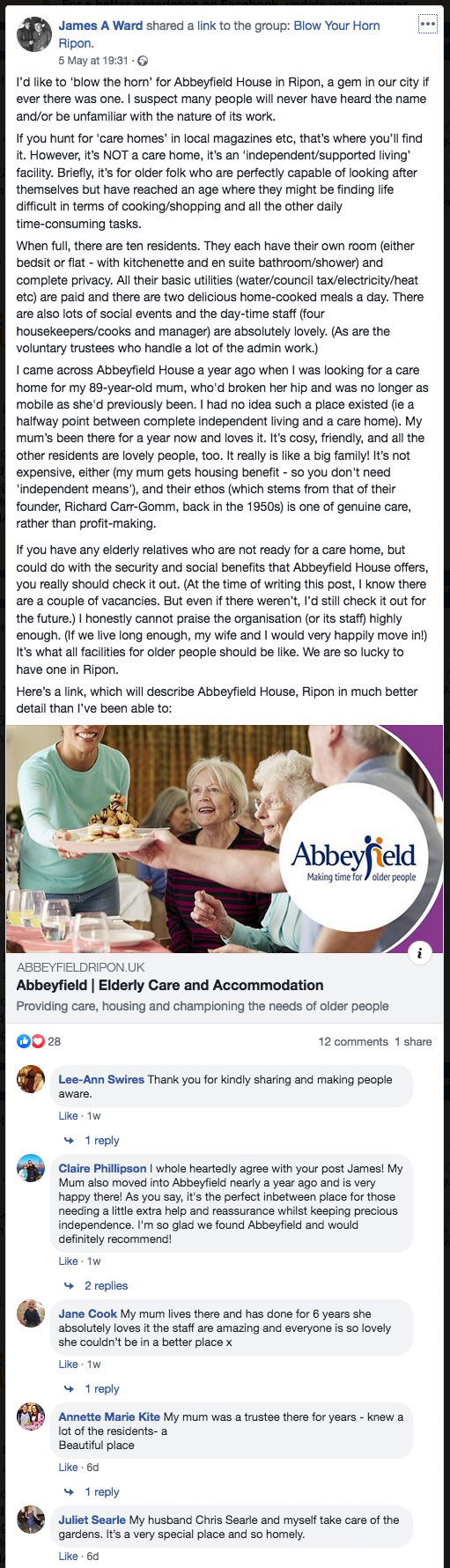 Abbeyfield on Facebook